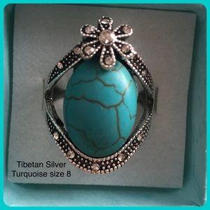 Turquoise Silver Boho Ethnic Tribal Flower Ring 8